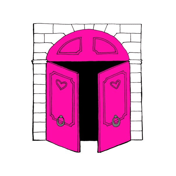 open doors pink doors less wall