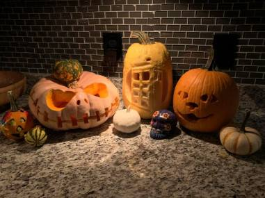 Jack Skellington, a TARDIS, and a cat jack-o-lanterns